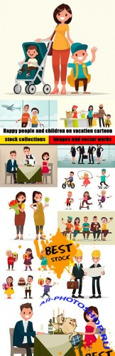 Happy people and children on vacation cartoon
