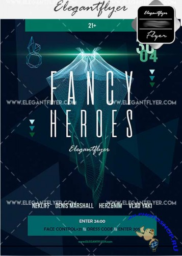 Fancy Heroes V3 Flyer PSD Template + Facebook Cover