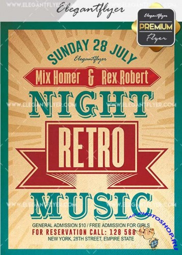 Night Retro Music V17 Flyer PSD Template + Facebook Cover
