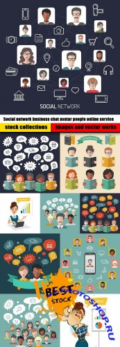 Social network business chat avatar people online service