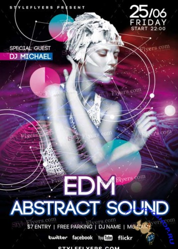 EDM Abstract Sound PSD V5 Flyer Template