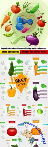 Organic vitamin and mineral Infographics elements