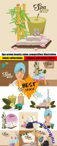 Spa aroma beauty salon composition illustration