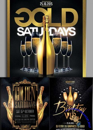 Gold Party 3in1 V3 Flyer Template