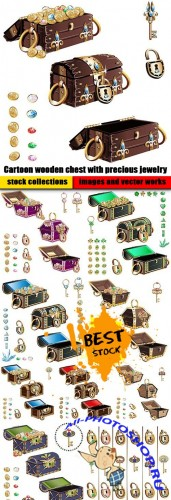 Cartoon wooden chest with precious jewelry