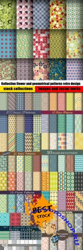Collection flower and geometrical patterns retro design