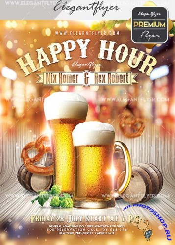 Happy Hour V22 Flyer PSD Template + Facebook Cover