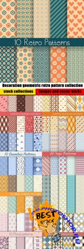 Decoration geometric retro pattern collection