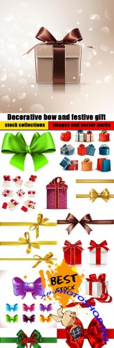 Decorative bow and festive gift