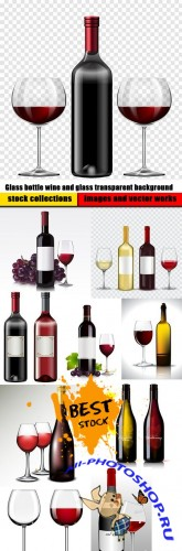 Glass bottle wine and glass transparent background