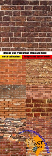 Grunge wall from brown stone and brick