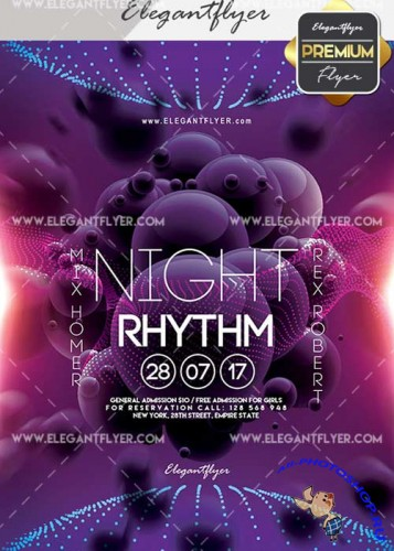 Night Rhythm V2 Flyer PSD Template + Facebook Cover
