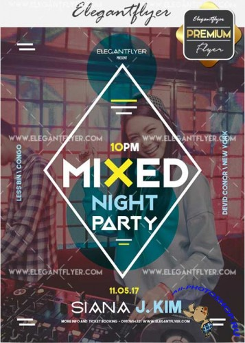 Mixed Party V30 Flyer PSD Template + Facebook Cover