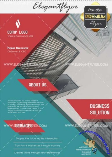 Business Solution V35 Flyer PSD Template + Facebook Cover