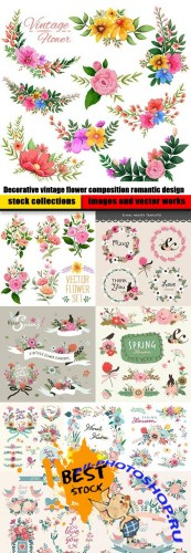 Decorative vintage flower composition romantic design
