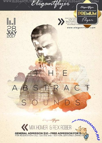 Abstract Sounds Party V28 Flyer PSD Template + Facebook Cover