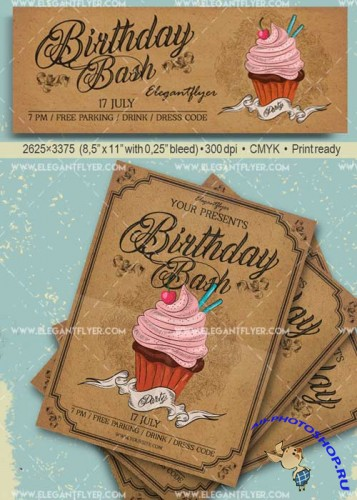 Birthday Bash Party V14 Flyer PSD Template + Facebook Cover