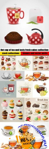 Hot cup of tea and tasty fresh cakes collection