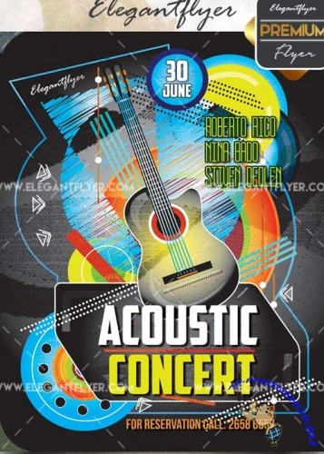 Acoustic Party V15 Flyer PSD Template + Facebook Cover