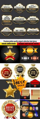 Premium golden quality elegant collection label glossy