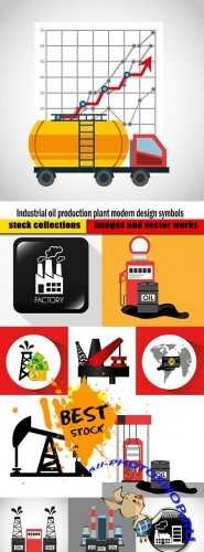 Industrial oil production plant modern design symbols