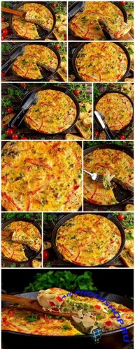 Frittata made of eggs, potato, bacon, cheese in iron pan. on wooden table - 12xUHQ JPEG