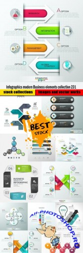 Infographics modern Business elements collection 231