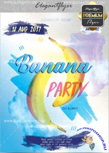 Banana Party V17 Flyer PSD Template + Facebook Cover
