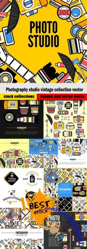 Photography studio vintage collection vector