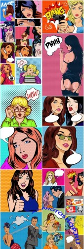 Pop Art , Retro Comic #16 - 23 Vector