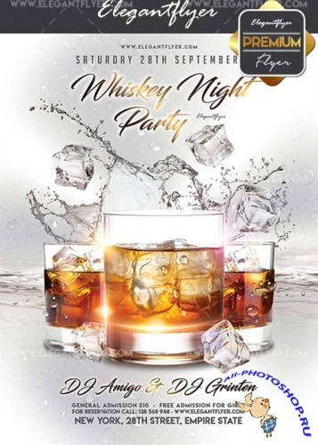 Whiskey Night Party V22 Flyer PSD Template + Facebook Cover