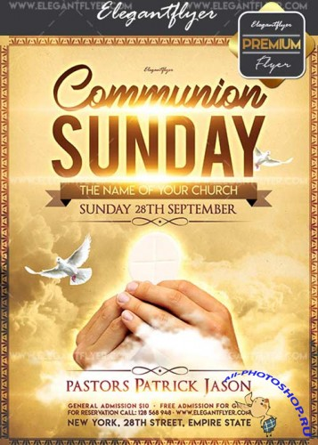 Communion Sunday V5 Flyer PSD Template + Facebook Cover