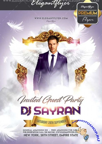 Invited Guest Party V8 Flyer PSD Template + Facebook Cover
