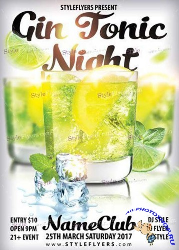 Gin Tonic Night PSD Flyer Template
