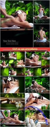 Set of collages with a girl on spa procedures
