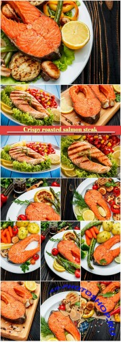 Crispy roasted salmon steak with vegetables