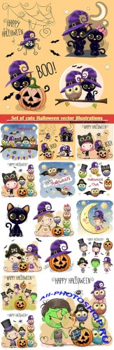 Set of cute Halloween vector illustrations
