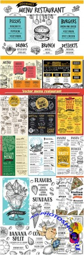 Vector menu restaurant, food template