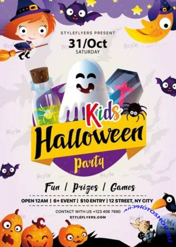 Kids Halloween Party 2017 V17 PSD Flyer Template