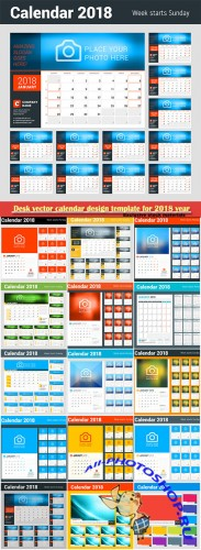 Desk vector calendar design template for 2018 year # 11