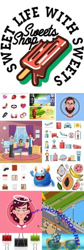 Big vector collection of illustrations and elements design 10