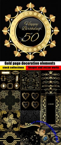 Gold page decoration elements on black and vintage backgrounds - 25 Eps