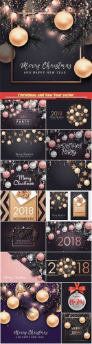 Christmas and New Year vector background for holiday greeting card, invitation, party flyer