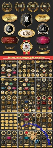 Luxury retro badges gold and silver vector collection