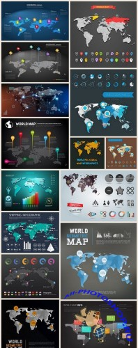 World Map Infographic - 15 Vector