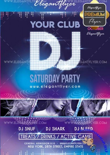 DJ Saturday party v02 2017 Flyer PSD Template + Facebook Cover