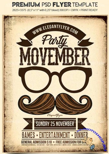 Movember Party V03 2017 Flyer PSD Template + Facebook Cover