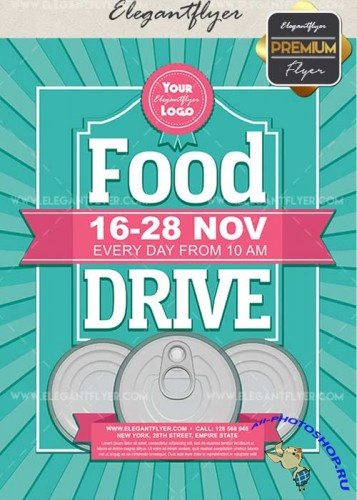 Food Drive V14 Flyer PSD Template + Facebook Cover