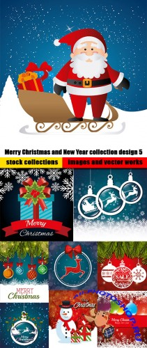 Merry Christmas and New Year collection design 5