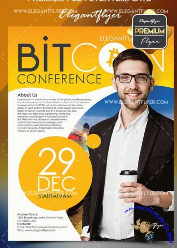 Bitcoins Conference V4 Flyer PSD Template + Facebook Cover